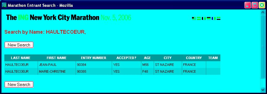 La confirmation de l'insription sur le site du marathon de NYC